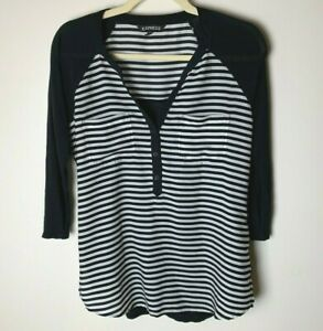 Express Women's Top Size Small 3/4 Sleeves Pockets Black White Stripes Casual