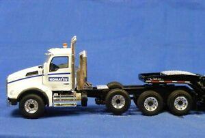 First-Gear-50-3281-Kenworth-T880-Tri-axle-Tractor-White-Blue-Stripe-1-50-MIB