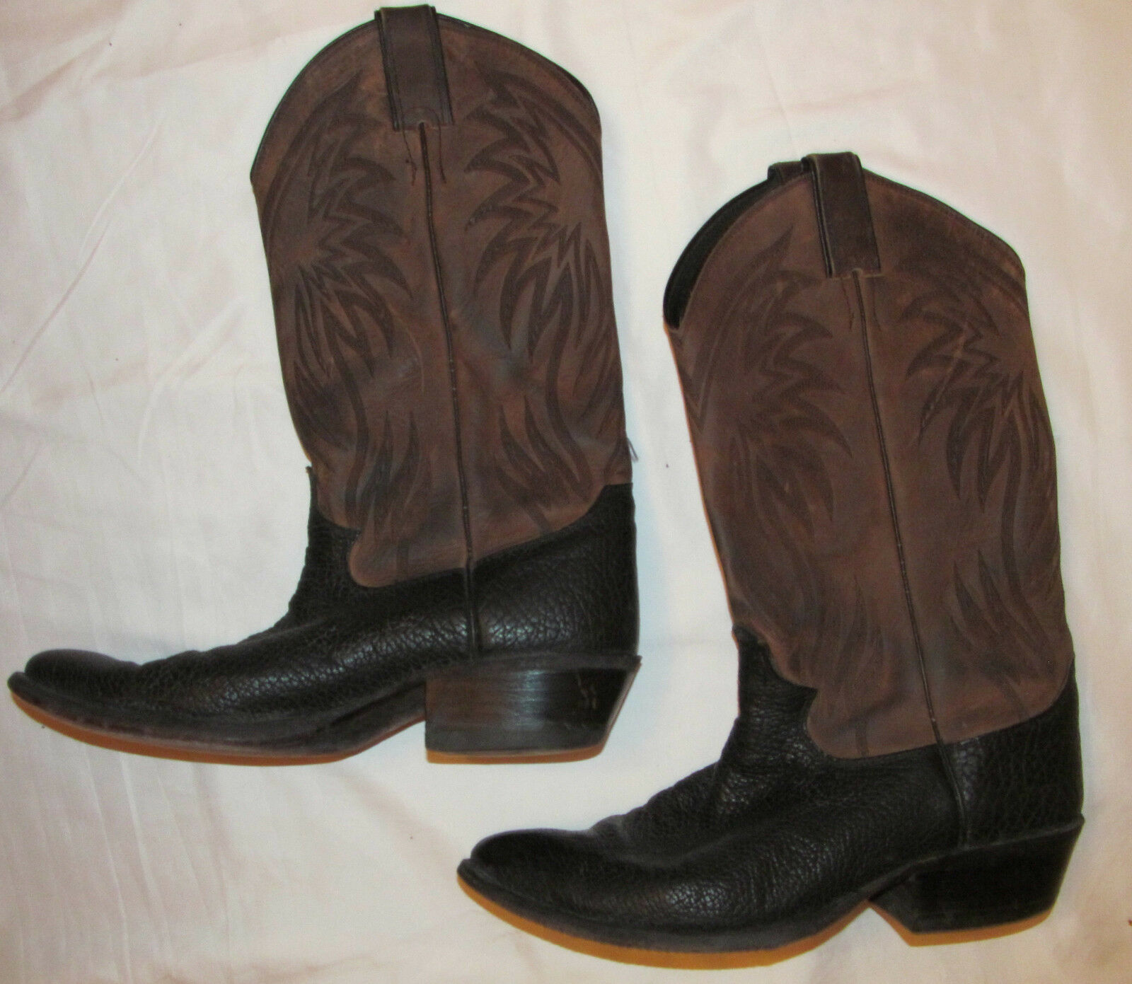Vintage JUSTIN textured  grain leather tall pull on cowboy boots 7.5 D