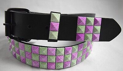 3-Row Metal Pyramid Studded Leather Belt Punk Rock Goth Emo Saint Patrick/'s Day