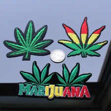 "MARIJUANA LEAF IRON ON PATCH 1.9/"" Cannabis Pot Weed Hippie Embroidered Applique"