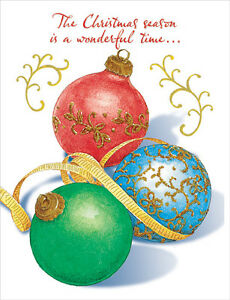 image is loading three gold foil ornaments box of 18 christmas - Foil Christmas Cards