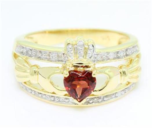 Natural Claddagh Garnet & 20 Diamond 9K 9ct 375 Solid Gold Celtic Irish Ring