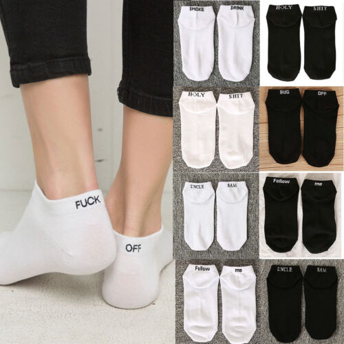 1 Pairs Fashion Men Womens Rude Design Letter Print Funny Knit Sport Socks