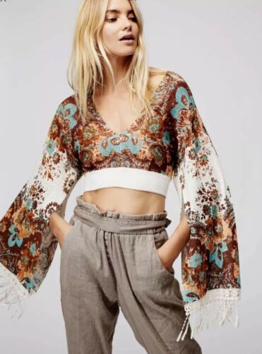 NEW Free People Meet Me At Woodstock Cropped Bell Sleeve Sweater Top XS S M L