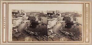 Italia Napoli Santa Lucia c1865 Sommer & Behles Foto Stereo Vintage Albumina