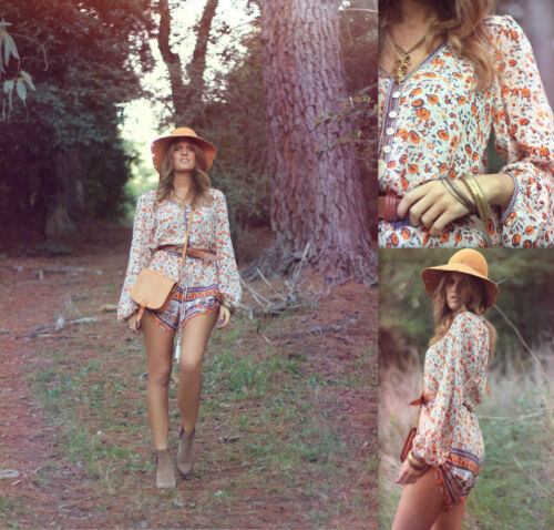 Gypsy Playsuit Romper Spell Love People Orange amp; The Print Blossom Floral Free xwwa7RHf