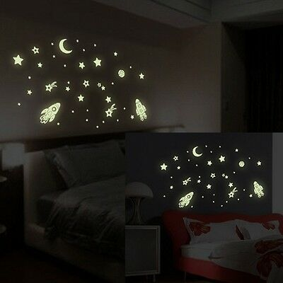 Star Universe Glow Removable Art Wall Stickers Nursery Kids Room Decor Decal