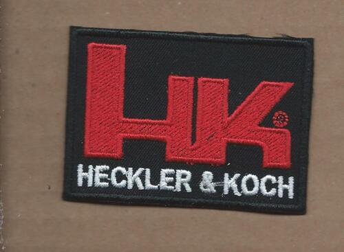 NEW 2 1//8 X 3 INCH BLACK HK HECKLER /& KOCH FIRE ARMS IRON ON PATCH FREE SHIPPING