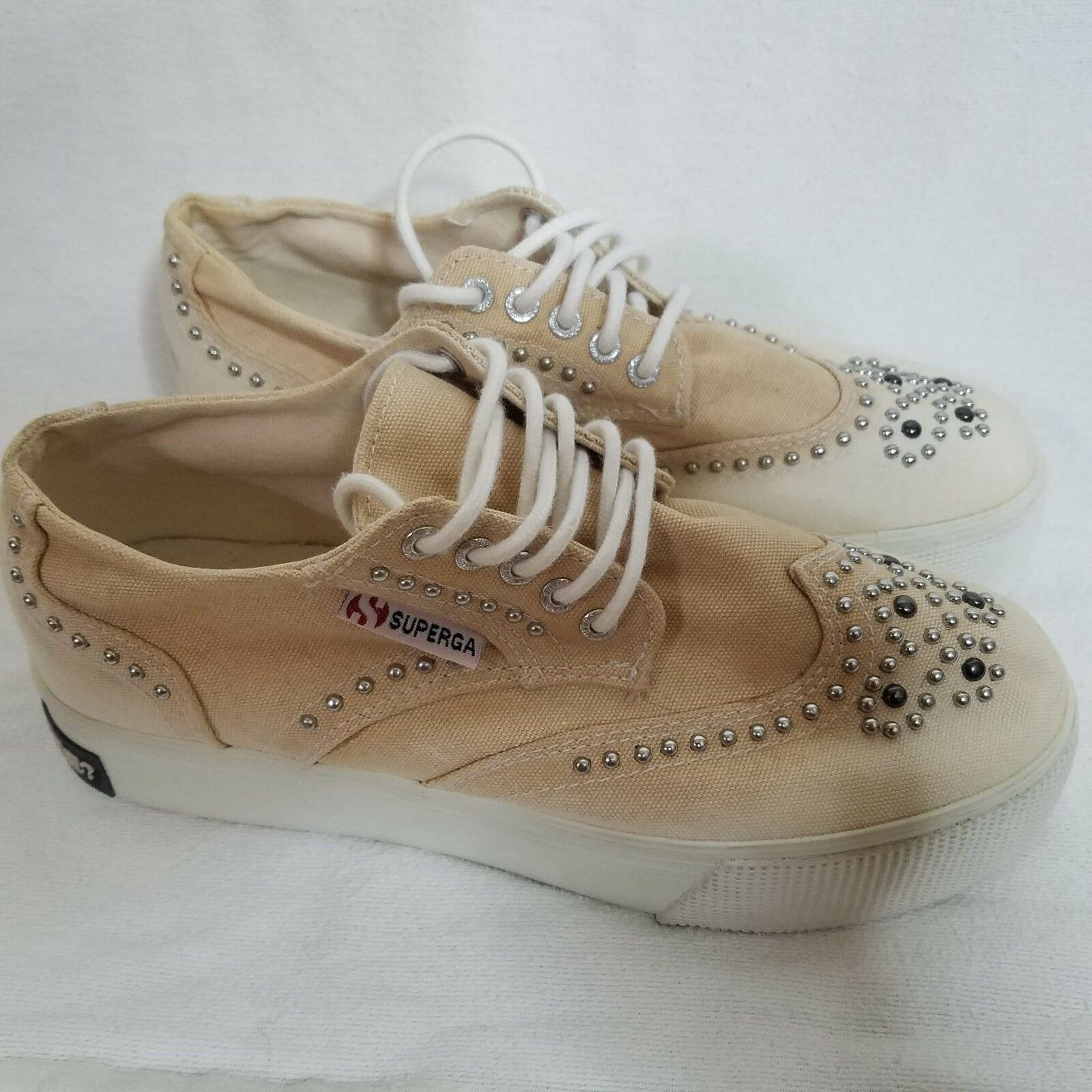 Superga x Collection Privee Womens Beige Beaded Sneakers shoes US Size 6