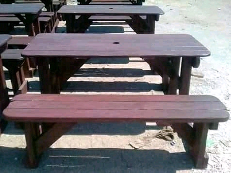 Wooden benches and tables