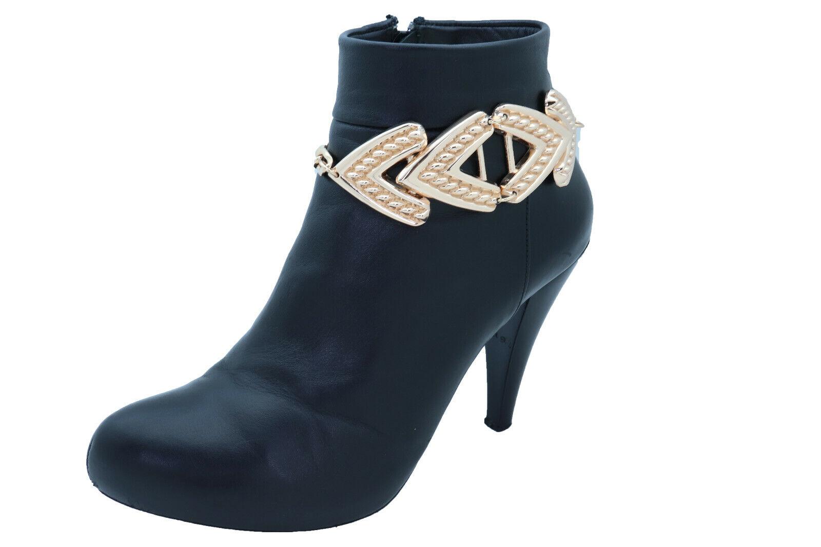 Women Shiny Gold Color Metal Chain Boot Bracelet Shoe Anklet Arrow Charm Strap