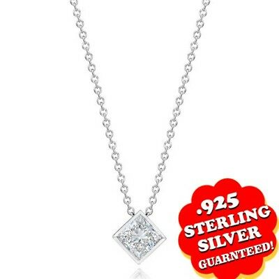 1.00 Ct D//VVS1 Round 18K White Gold Over Solitaire Necklace Pendant w//Chain