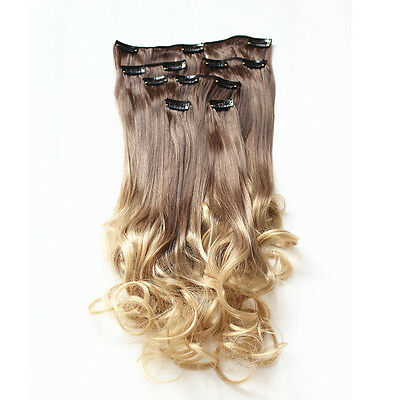 22'' 6 Pcs Clip in Synthetic Hair Extension Long Wavy Curly Ombre Hairpiece 8/25