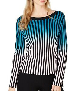 INC Womens Sweater Blue Size Small S Pullover Ombre Striped Scoop Neck $89 550