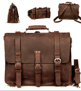 "Men Large 17"" Genuine Saddle Leather Messenger Bags Briefcase ..."