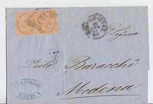 Italien-1869-frankierter-Beleg-2x-10-c-aus-MILANO-nach-MODENA