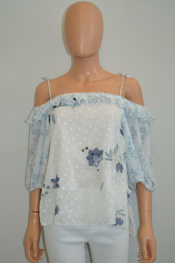 NWT See By Chloe Off-White bluee 'Haut' Floral Cold-Shoulder Blouse Top Size 34
