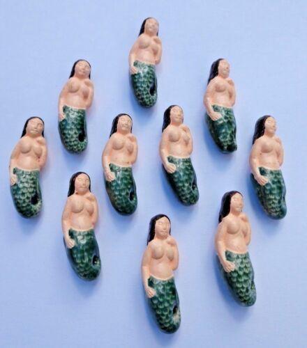 Peruvian Ceramic Blue Green Mermaid Bead Single OR Lot Five OR 10 DIY Charm
