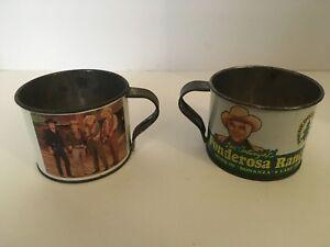 Set-of-2-Ben-Cartwright-039-s-Bonanza-TV-Show-Ponderosa-Ranch-souvenir-tin-cup-RARE