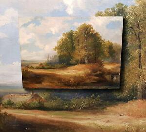 Herbstliche-Waldlandschaft-Herrliches-impressionistisches-Olgemaelde-auf-EICHE