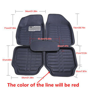 5Pc-Black-Universal-Car-Floor-Mats-FloorLiner-Front-amp-Rear-Carpet-All-Weather-Mat