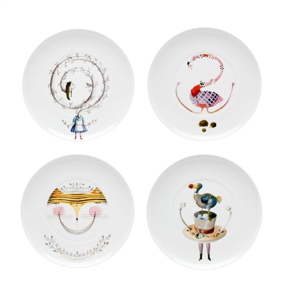 Vista Alegre Tea With Alice Set 4 Dessert Plates