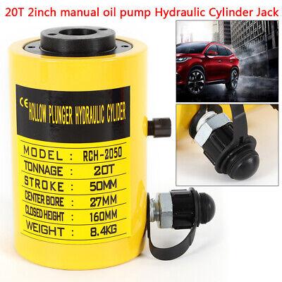 """Hydraulic Cylinder Jack Hollow 20T 4/"""" Stroke Ram Pressure Pump"""