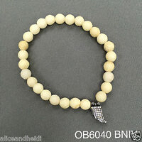 Ivory Beaded Semi-precious Cubic Zirconia Horn Stretch Bangle Bracelet