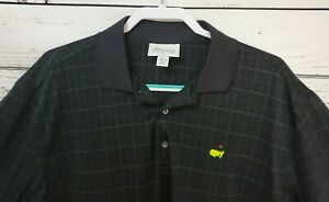 Masters-Performance-Golf-Polo-Shirt-Men-039-s-L-Black-Plaid-Checked-Augusta-National