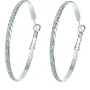 Image Is Loading 1158 Silver Plated Hoop Long Earrings For Women