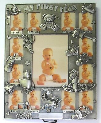 """my First Year"" Photo Frame - Holds Twelve 1½""×2"" And One - 3½×5 Photo"