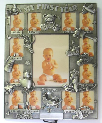 """3½×5 Photo /""""My First Year/"""" Photo Frame Holds Twelve 1½/""""×2/"""" and One"""