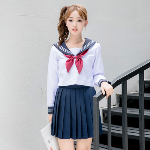 Japanese JK Girl School Uniform Navy Sailor Collar Dress Suit Cosplay Costume
