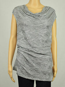 d6aa4b0ed95909 Calvin Klein Womens Silver Metallic Cowl Neck Angle Bottom Ruched ...