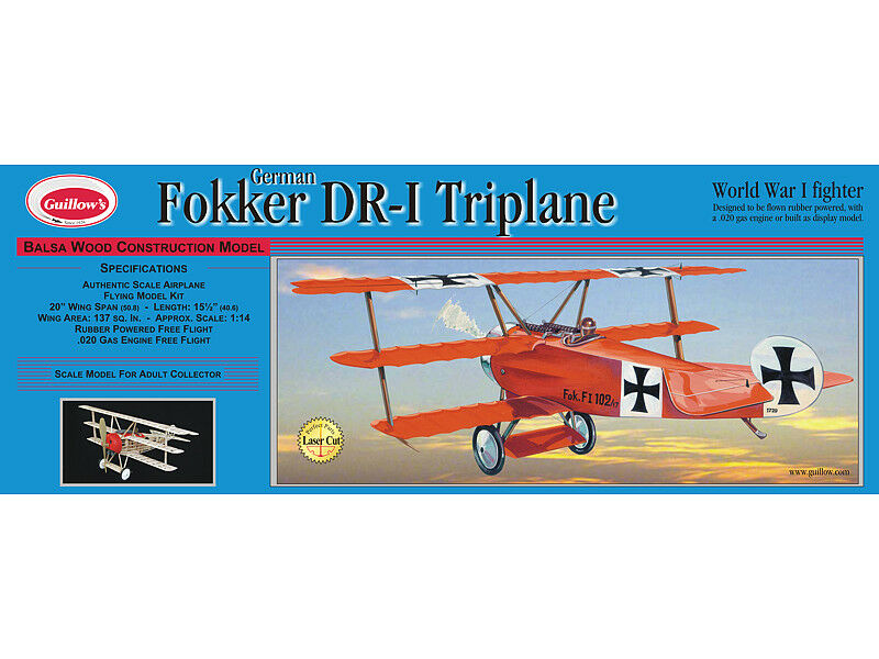 risparmia fino al 50% Guillows 204 - - - Fokker DR-1 Triplane 1 16 Scala Balsa Legno Kit 50.8cm Ala  100% nuovo di zecca con qualità originale