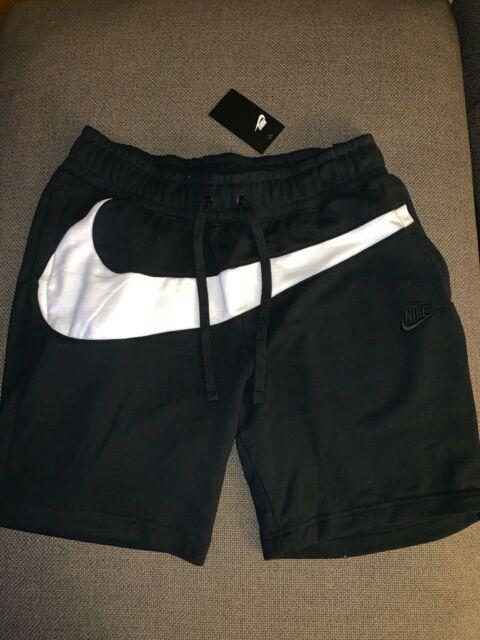 AR3161-010 NWT Men's Nike Sportswear Swoosh Fleece Shorts Black White Sz  M-2XL