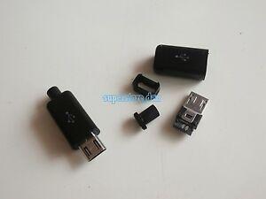 50Pcs-Micro-USB-5-Pin-Type-B-Male-4-Piece-Solder-Connector-Plug-Black-Cover-B