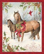 "Christmas Horse Panel 64468 100% cotton fabric panel 35"" X 43"""