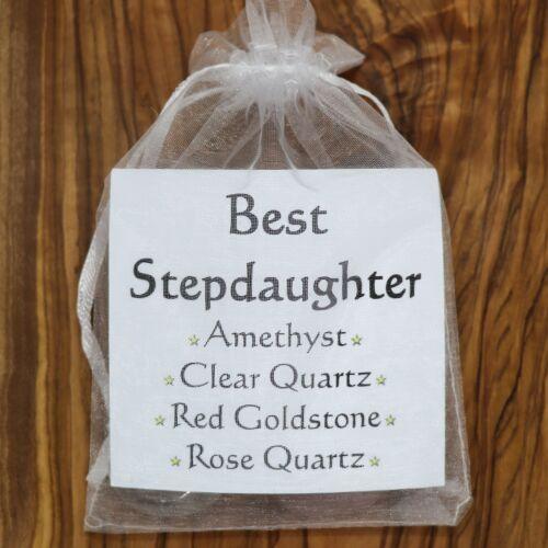 Best Stepdaughter Crystal Gift Set Rose Clear Quartz Amethyst Goldstone Family