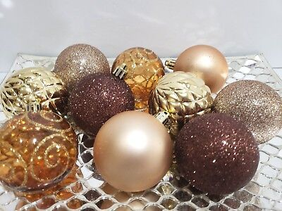 "Fall Thanksgiving Christmas Brown Gold Amber Glitter Ball Ornaments 2.5/"" S//10"