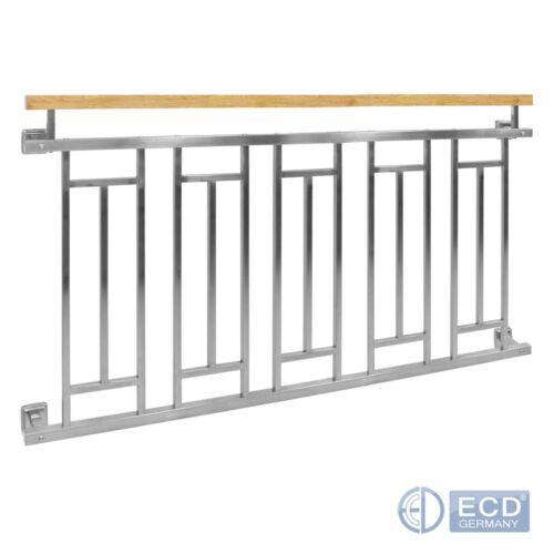 Französischer Balkon Balkongeländer Stabgeländer Silber mit Holzoptik Edelstahl