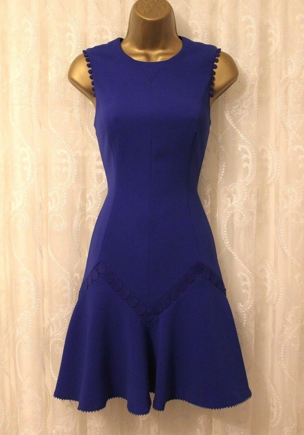 Karen Millen Blau DZ122 Flare Hem Fitted Shift Cocktail Party Mini Dress