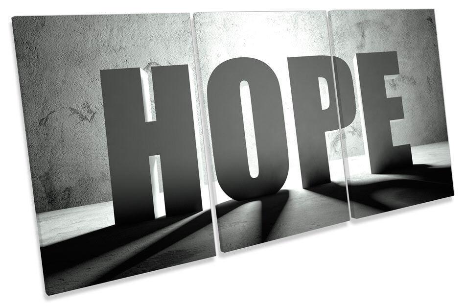 Hope Faith Words Bild CANVAS Wand Kunst TREBLE Drucken