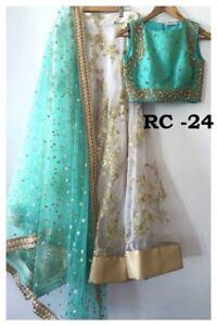Net-lehenga-Silk-Blouse-Sari-Saree-Indian-Designer-Party-Wear-Lengha-Choli-New