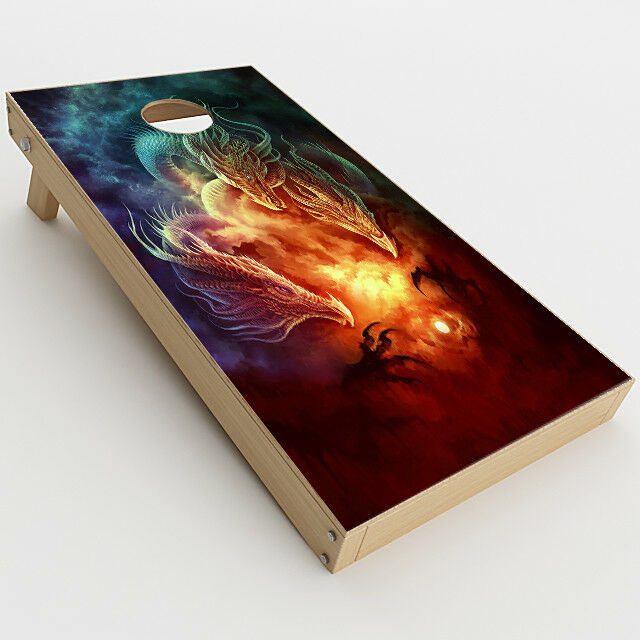 Skin Decal  for Cornhole Game Board Bag Toss (2xpcs.)   Dragons Fireball Magic
