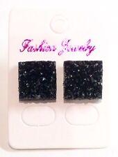 Small Black Sparkly Square Crystal Diamante Rhinestone Stud Earrings