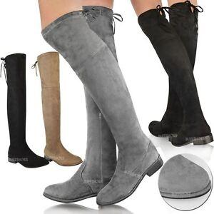 big sale cbae9 63634 Details zu Damen Stiefel aus Veloursleder-Imitat - kniehoher Schaft &  niedriger Absatz