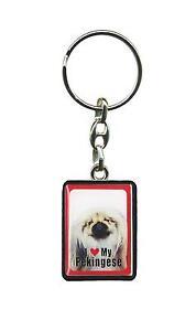 Dog Key Ring Pekingese Keyring 4cm x 3cm I Love My Pekingese