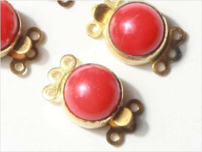 15mm 3 strand Czech vintage gold tone clasp red glass cabochon jewelry design